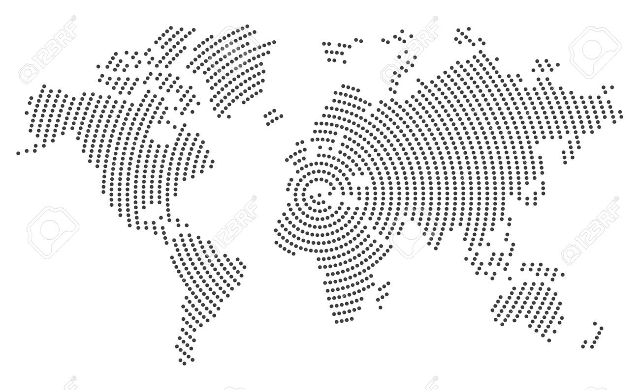 Gray world map on white background - 139668929