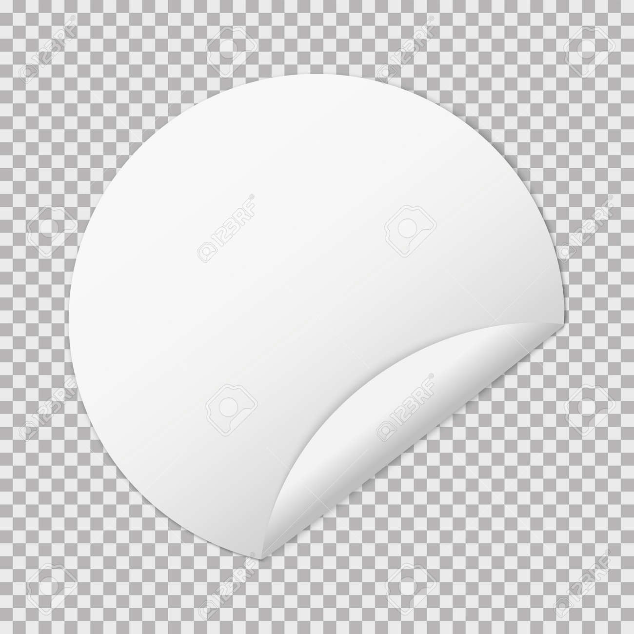 white paper round sticker banners on transparent background - 152246033