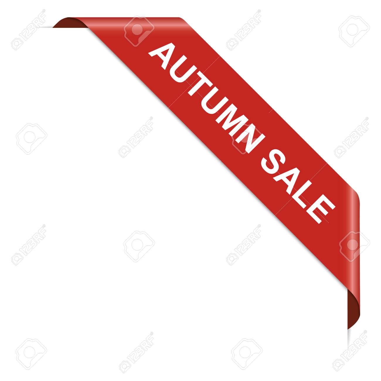 AUTUMN SALE - red corner ribbon banner on white background - 155168886