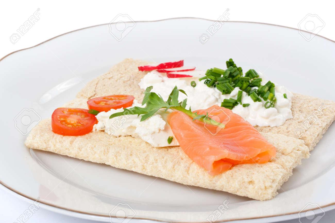 Diat Von Knackebrot Sandwiches Auf Einem Teller Lizenzfreie Fotos