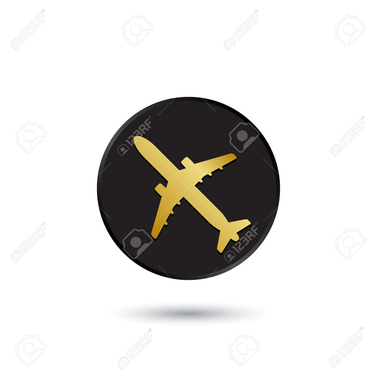simple gold on black airplane icon logo royalty free cliparts