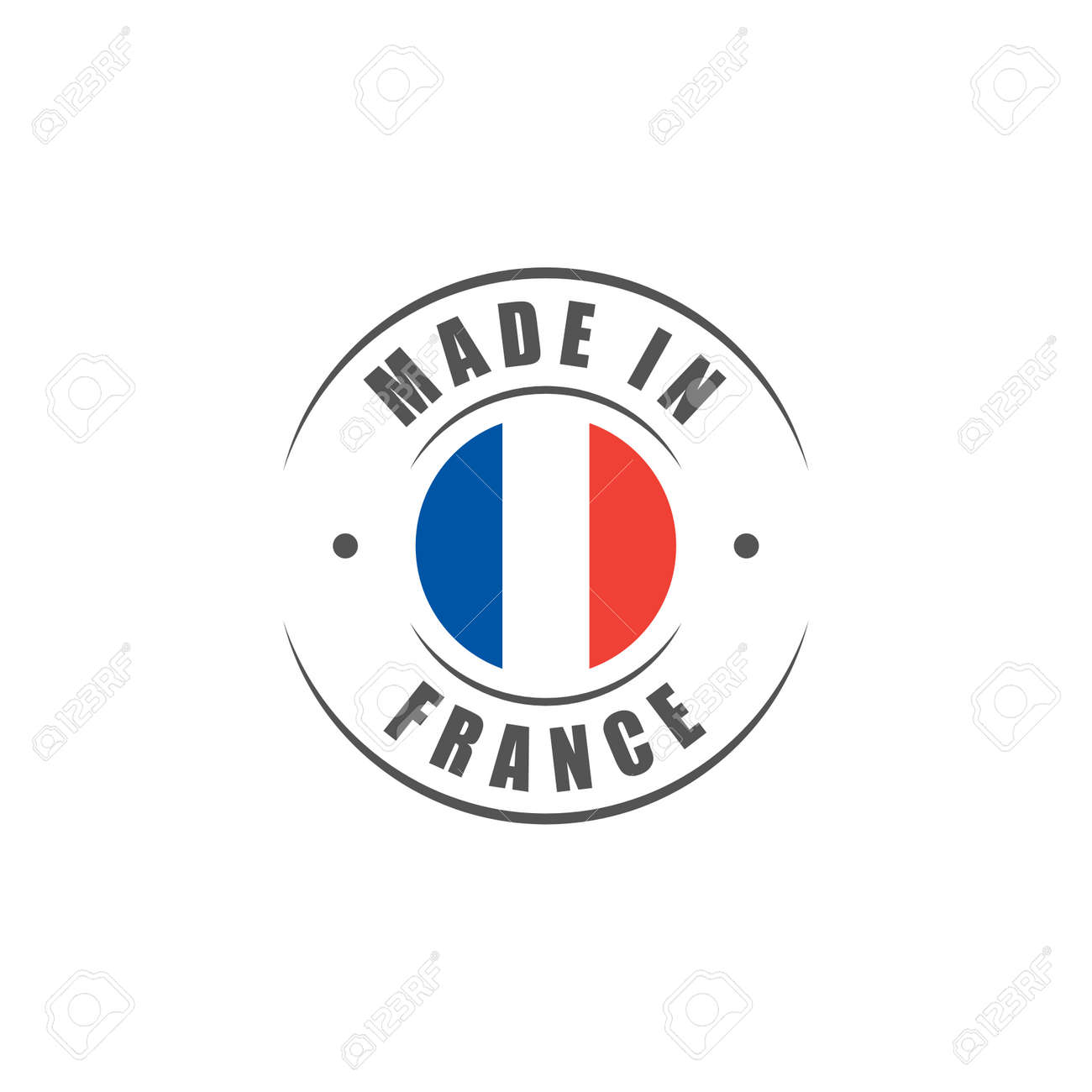 """Round """"Made in France"""" label with French flag - 58800444"""