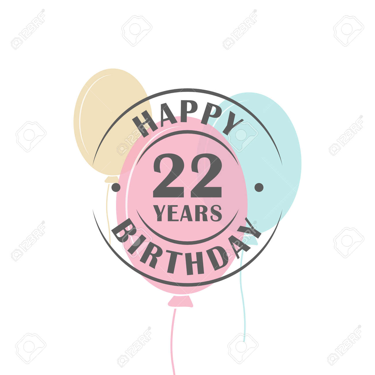 happy birthday 22 years round logo with festive balloons greeting