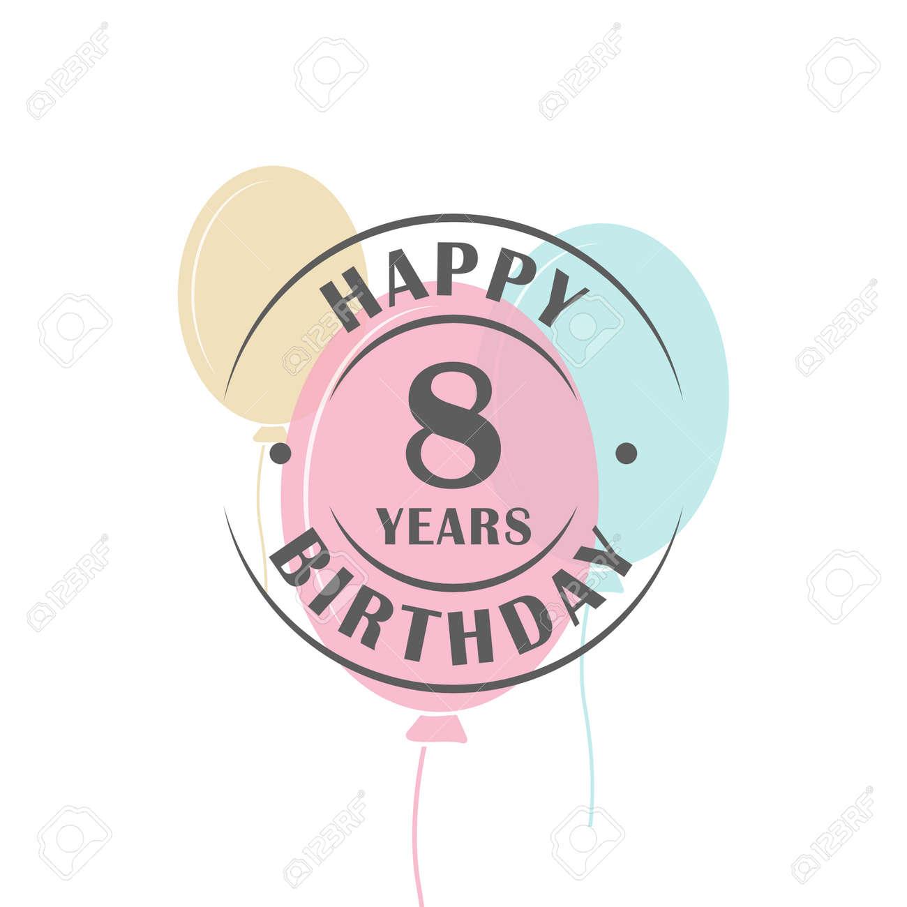 Connu Joyeux Anniversaire Logo 8 Ans Ronde Avec Des Ballons De Fête  RW33