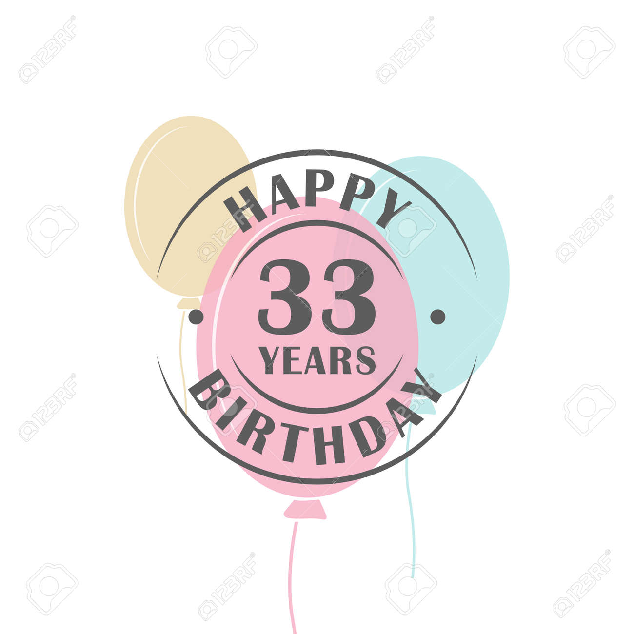 Joyeux Anniversaire Logo 33 Ans Ronde Avec Des Ballons De Fete