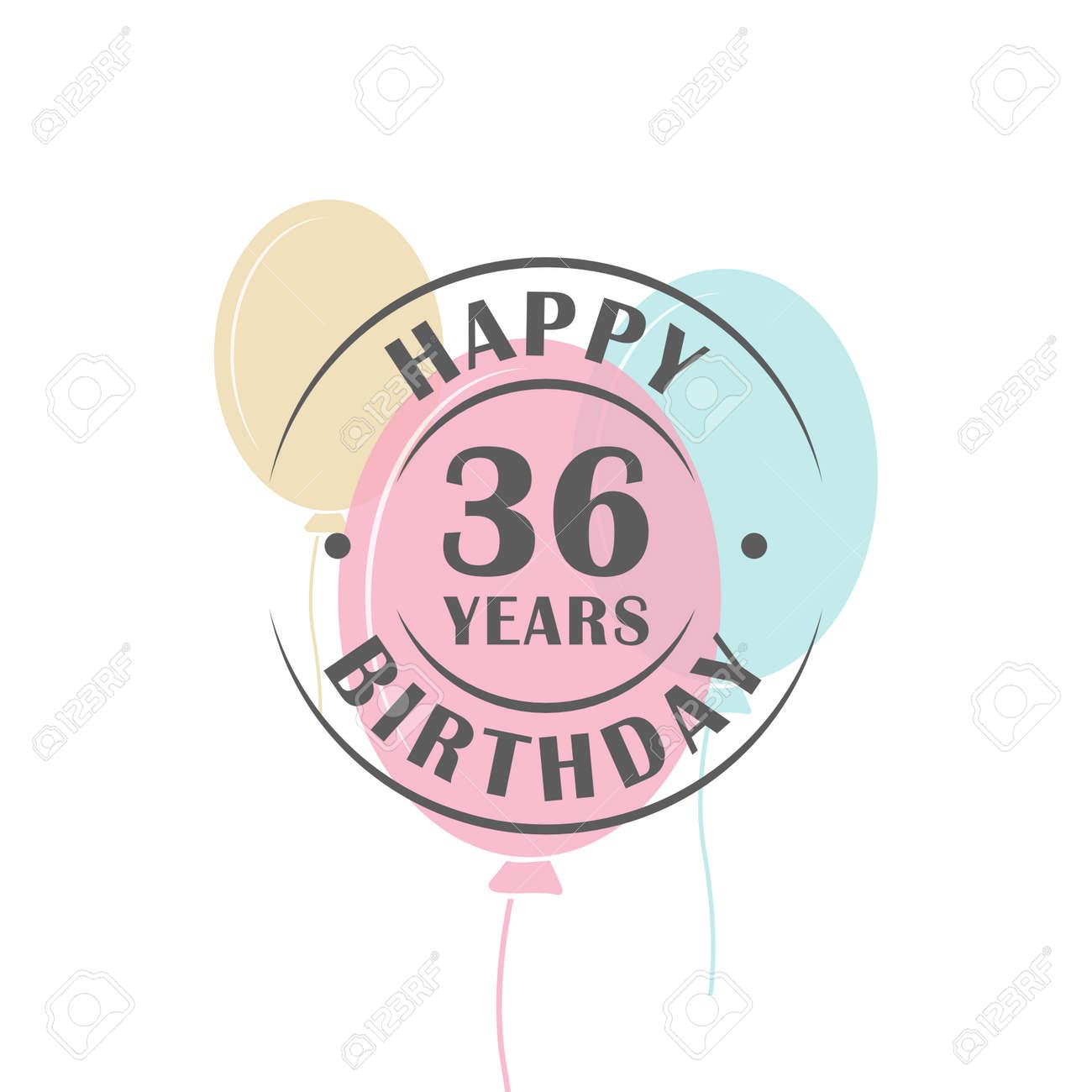 Alles Gute Zum Geburtstag 36 Jahre Rundes Logo Mit Festlichen