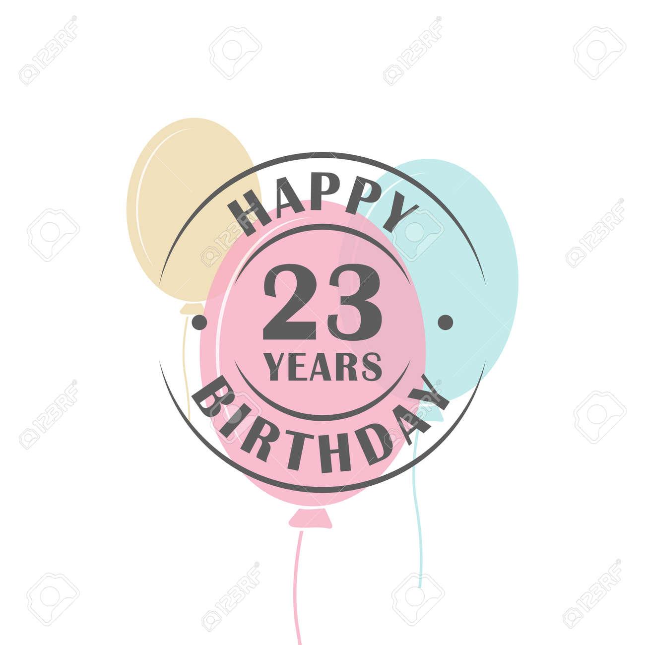 Bon Anniversaire Logo De 23 Ans Avec Des Ballons De Fête Modèle De Carte De Voeux