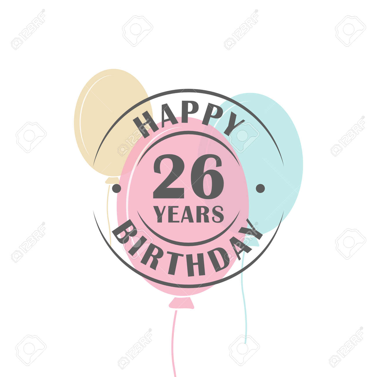 happy birthday 26 years round logo with festive balloons greeting