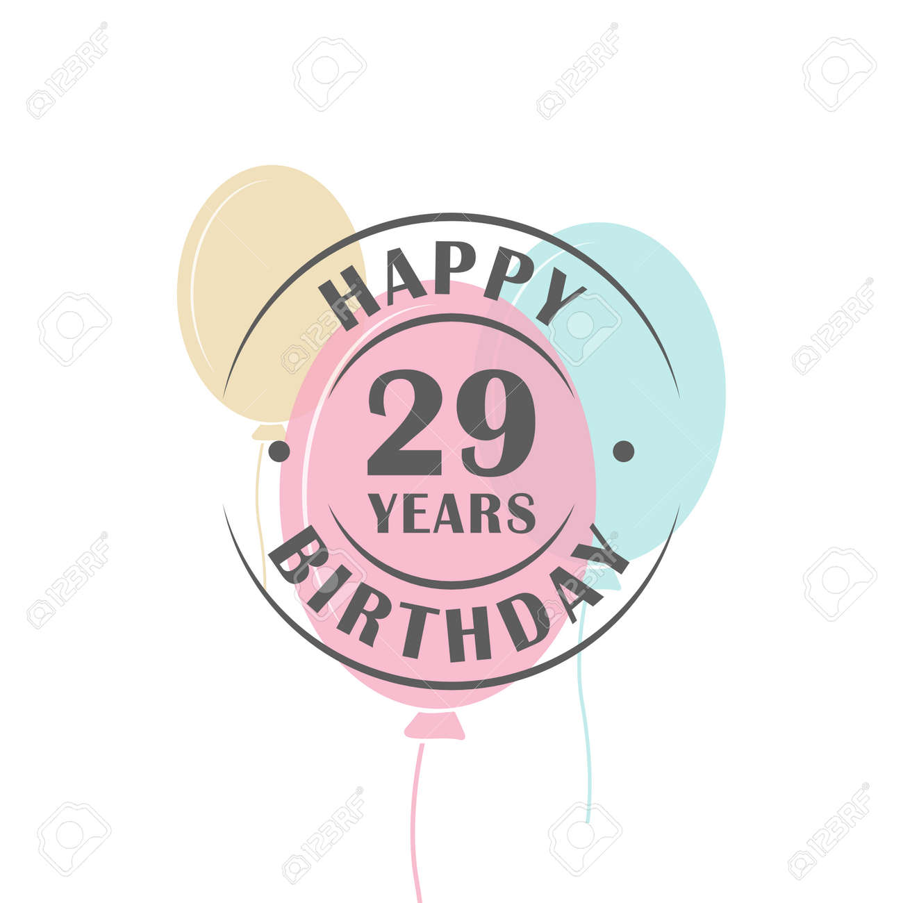 Happy birthday 29 years round logo with festive balloons greeting happy birthday 29 years round logo with festive balloons greeting card template stock vector bookmarktalkfo Images