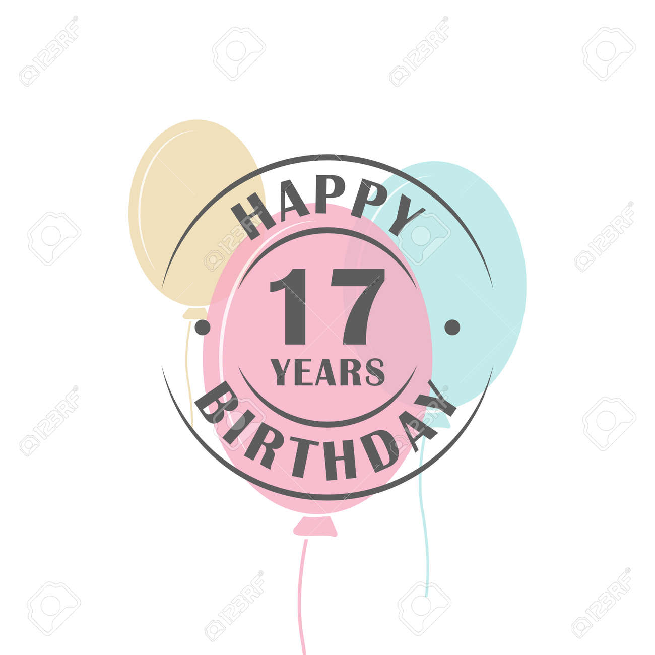 Happy birthday 17 years round logo with festive balloons, greeting card template Stock Vector -