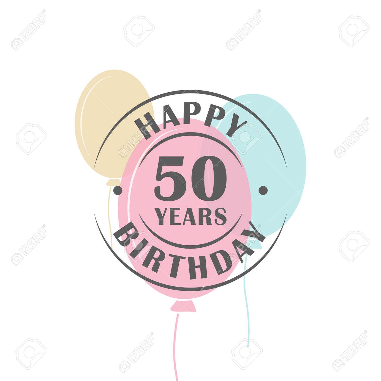 Joyeux Anniversaire Logo 50 Ans Ronde Avec Des Ballons De Fête Modèle De Carte De Voeux