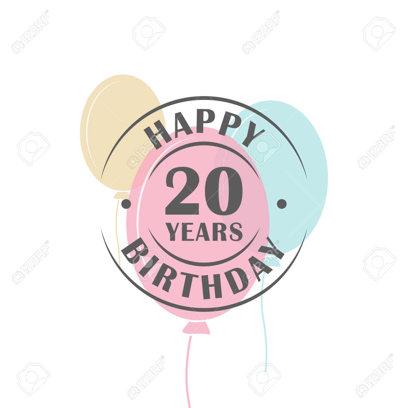 Joyeux Anniversaire 20 Ans Logo Rond Avec Des Ballons De Fete