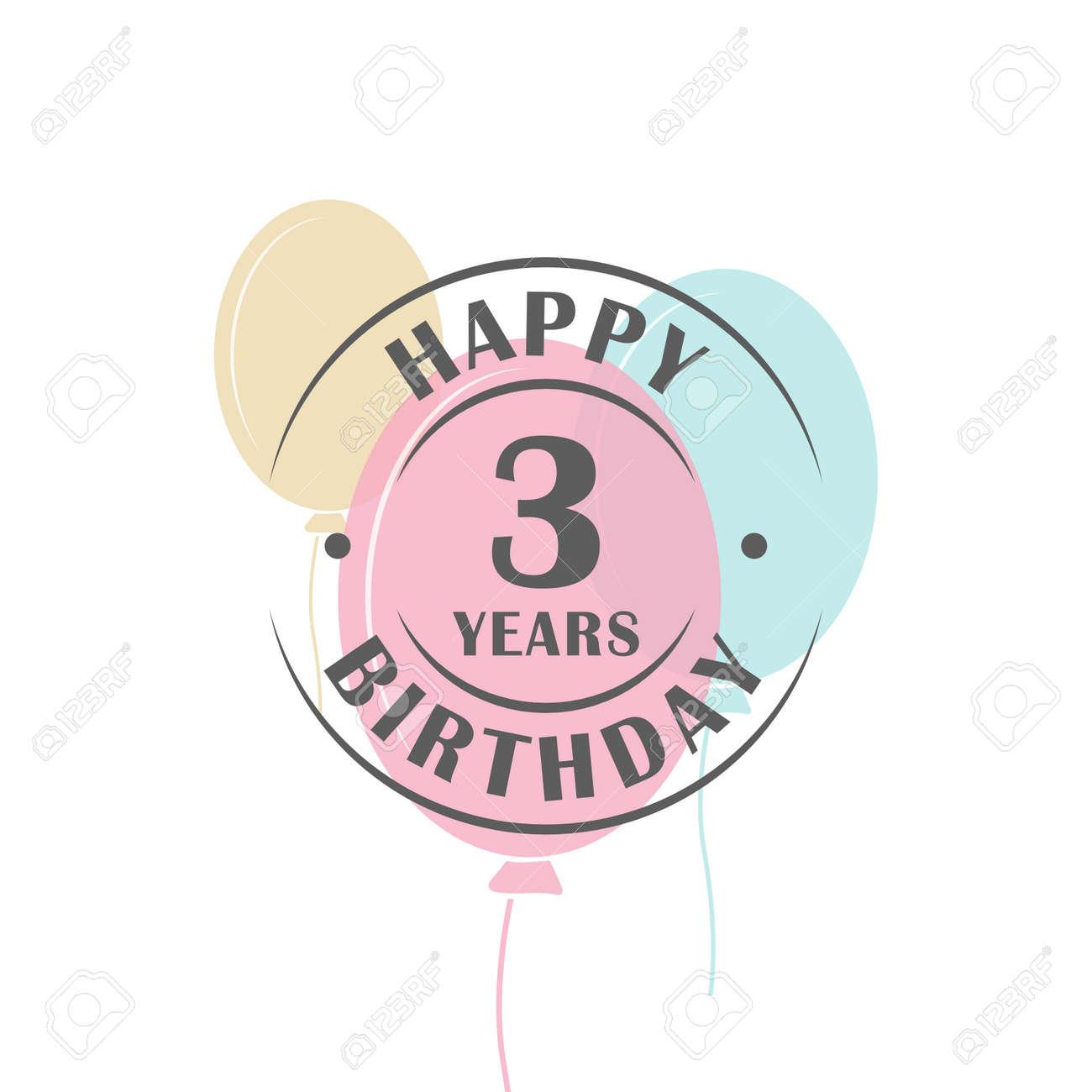 Joyeux Anniversaire 3 Ans Autour Du Logo Avec Des Ballons De Fete