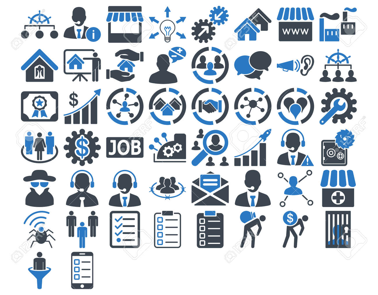 Business Icon Set. These flat bicolor icons use smooth blue colors. Vector images are isolated on a white background. - 42217520