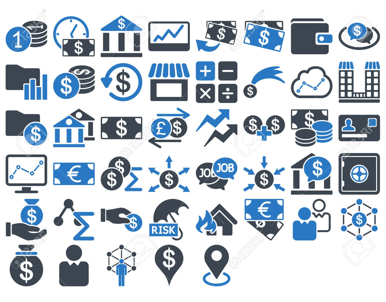 business icon set these flat bicolor icons use smooth blue colors