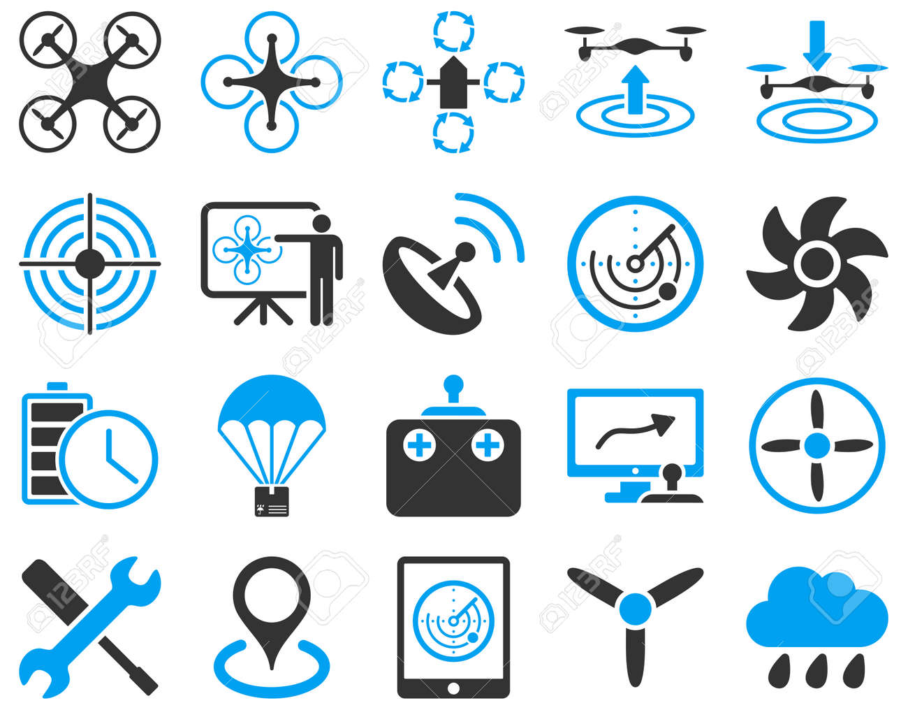 Air drone and quadcopter tool icons. Icon set style is flat vector bicolor images, blue and gray symbols, isolated on a white background. - 42217723
