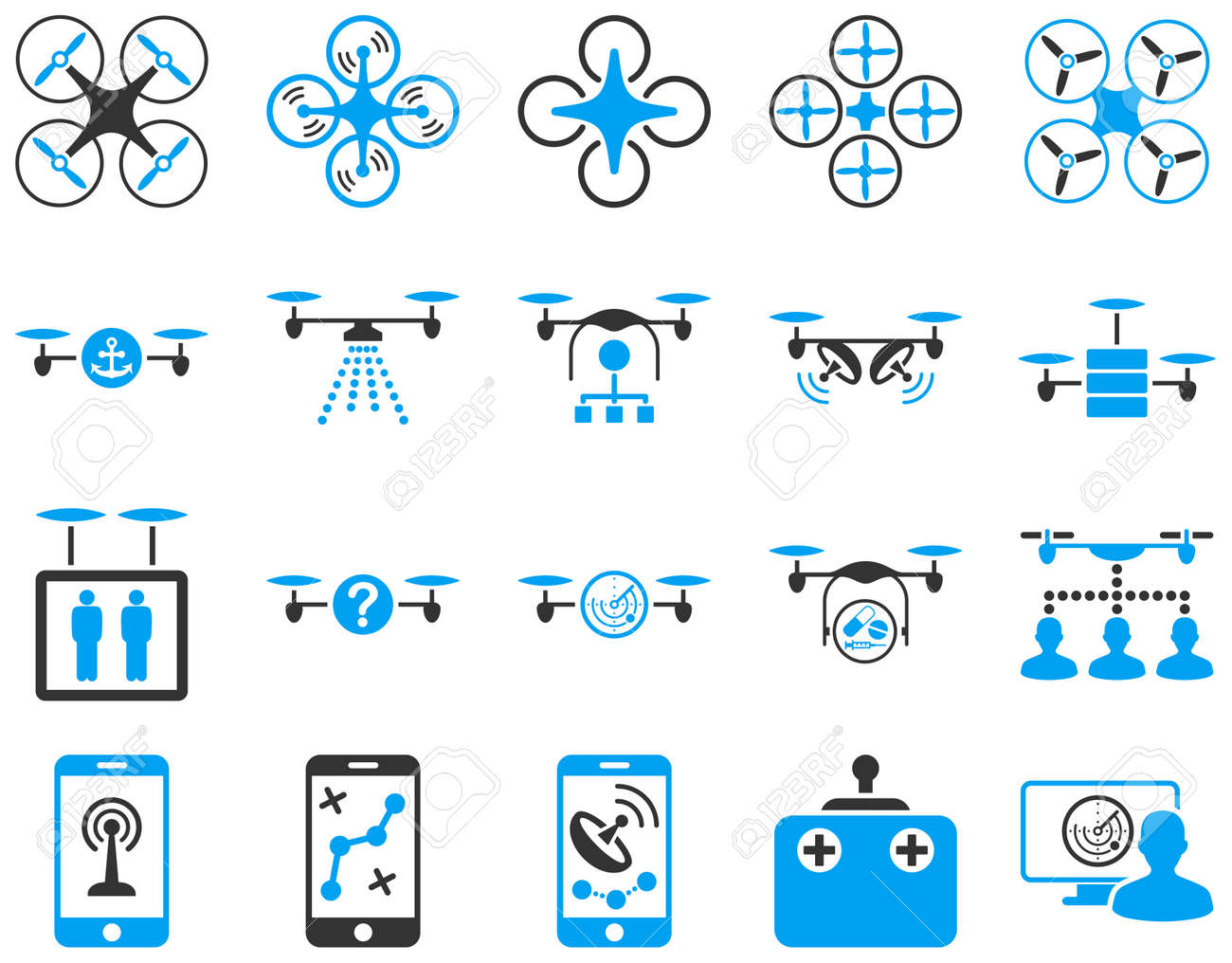 Air drone and quadcopter tool icons. Icon set style is flat vector bicolor images, blue and gray symbols, isolated on a white background. - 42217732