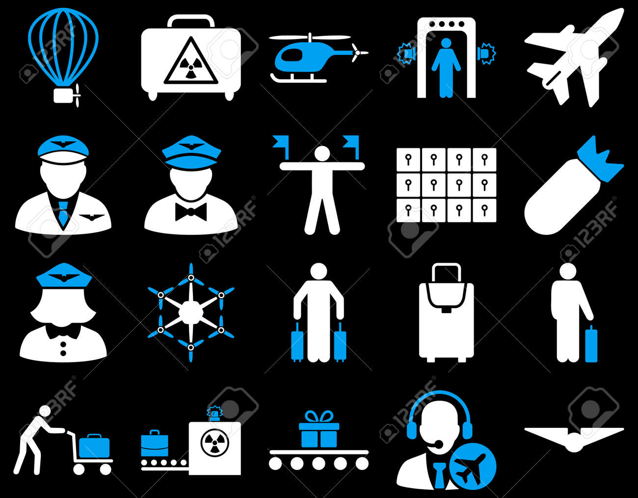 Airport Icon Set. These flat bicolor icons use blue and white colors. Vector images are isolated on a black background. - 42490402
