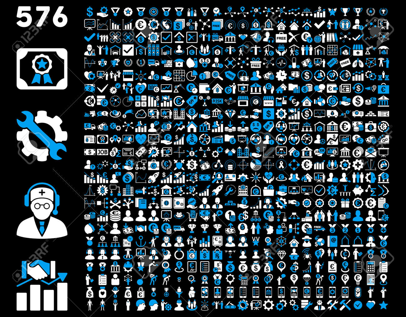 Toolbar Icon Set. 576 flat bicolor icons use blue and white colors. Vector images are isolated on a black background. - 42490477