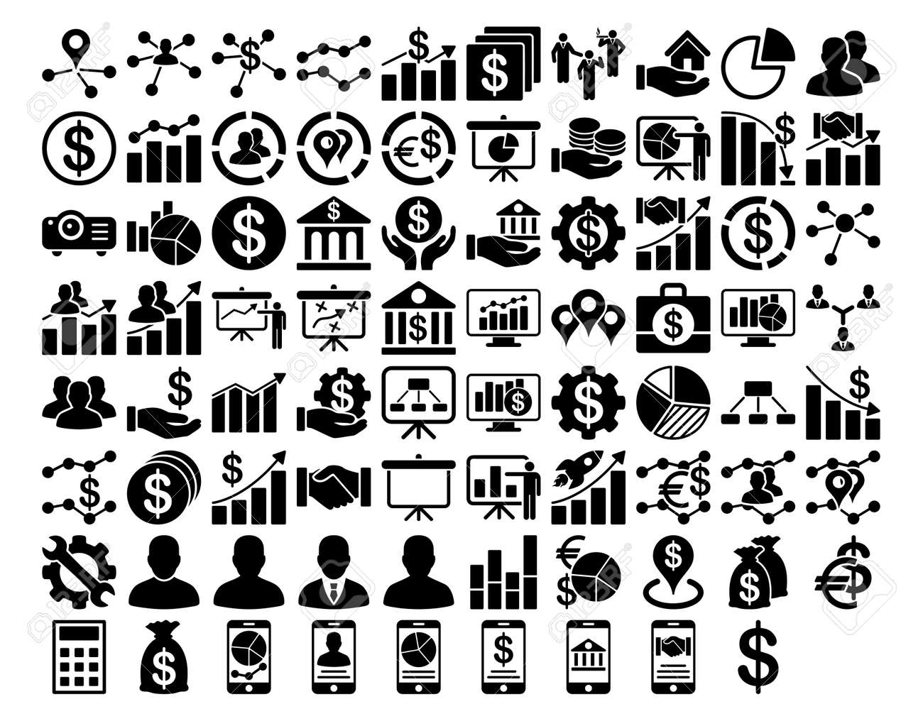 Business Icon Set. These flat icons use black color. Vector images are isolated on a white background. - 43532315