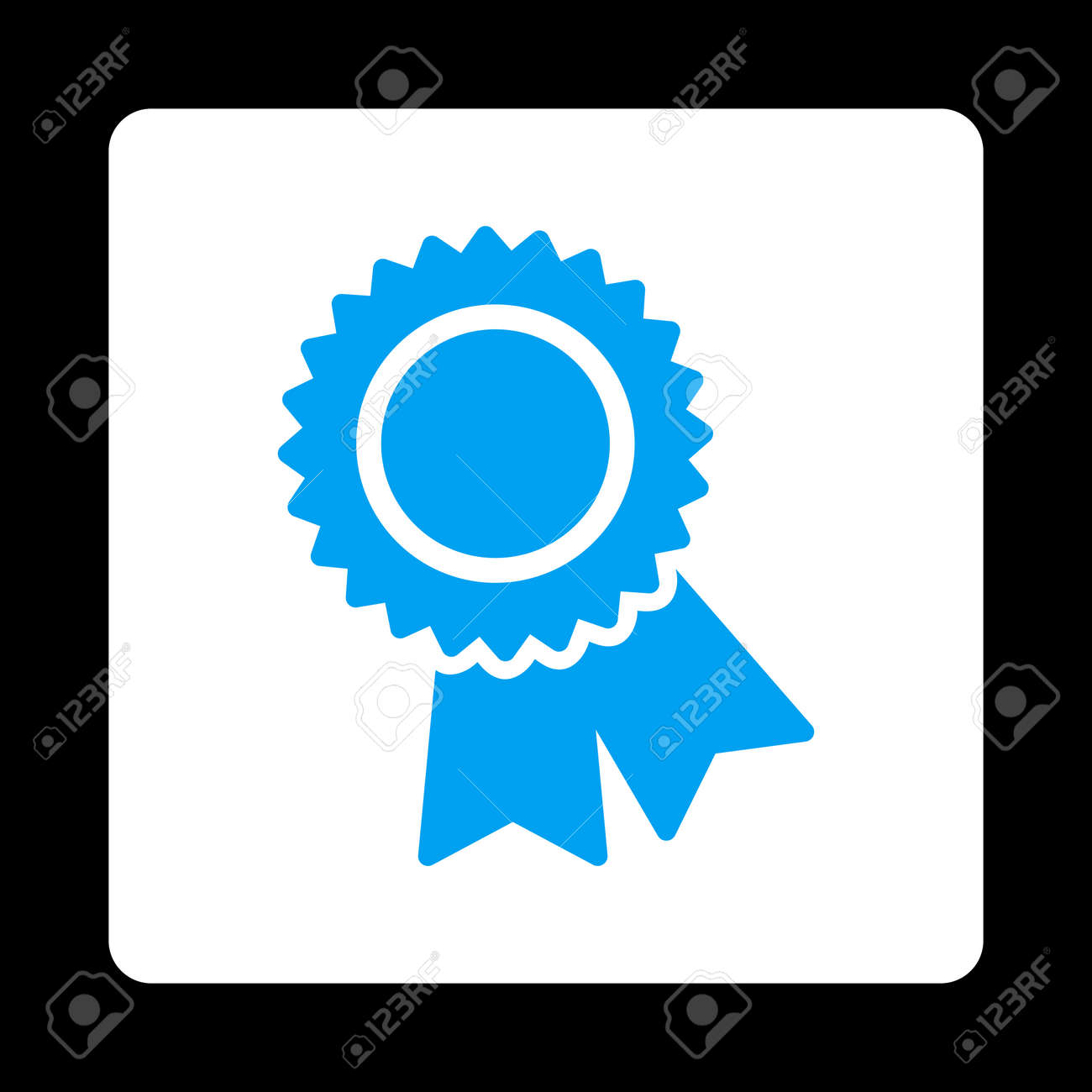 Certification Icon Icon Style Is Blue And White Colors Flat
