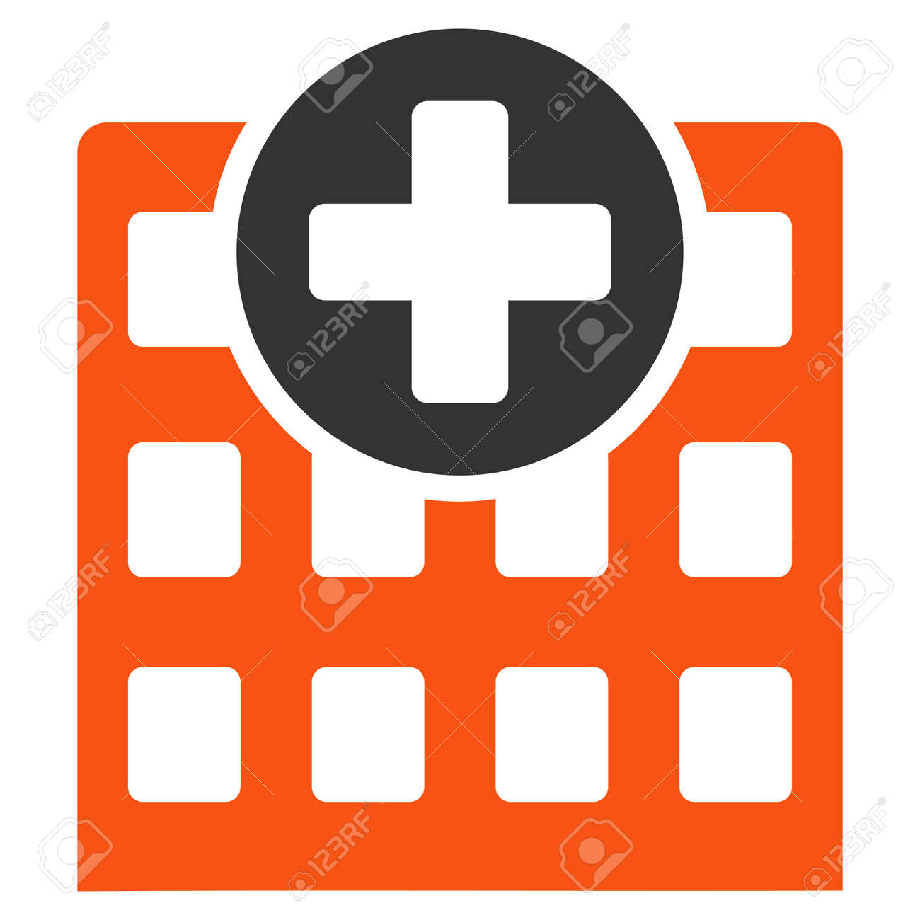 Hospital Glyph Icon Style Is Bicolor Flat Symbol Orange And