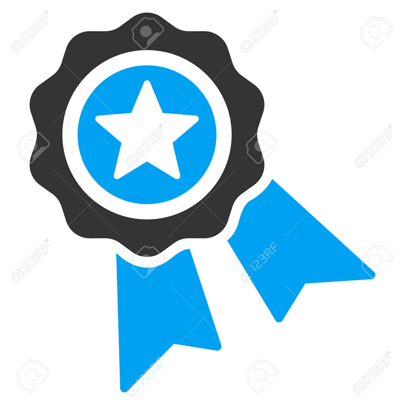 Quality Seal vector icon. Style is bicolor flat symbol, blue and gray colors, rounded angles, white background. - 45478090