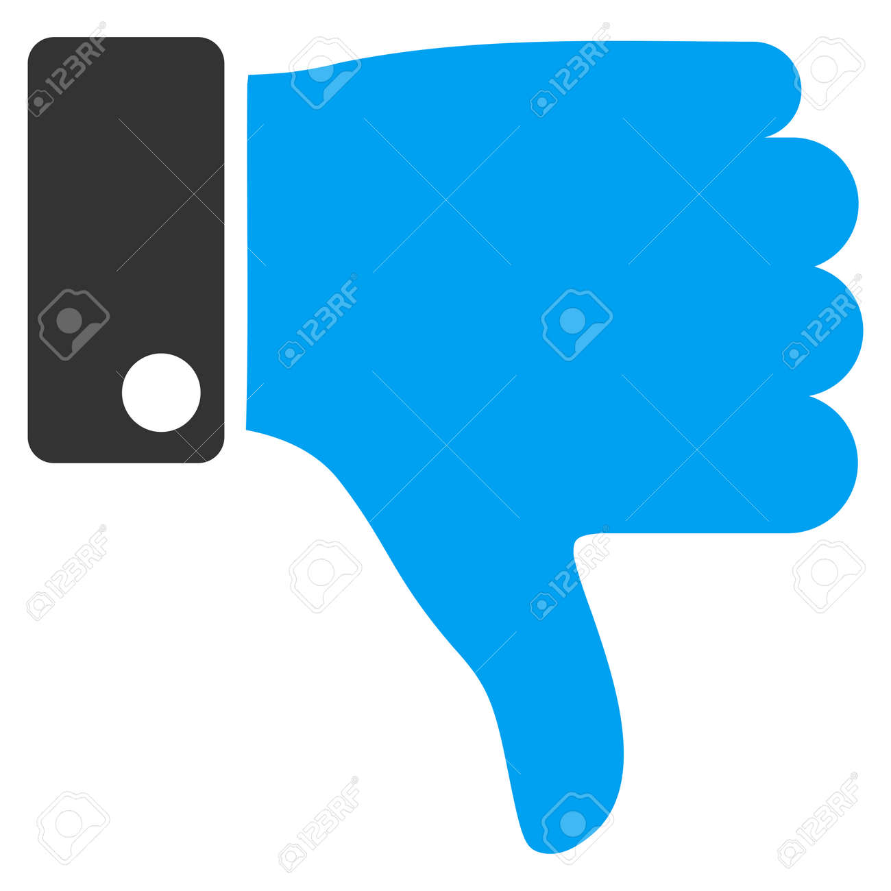 Thumb Down vector icon. Style is bicolor flat symbol, blue and gray colors, rounded angles, white background. - 45478149