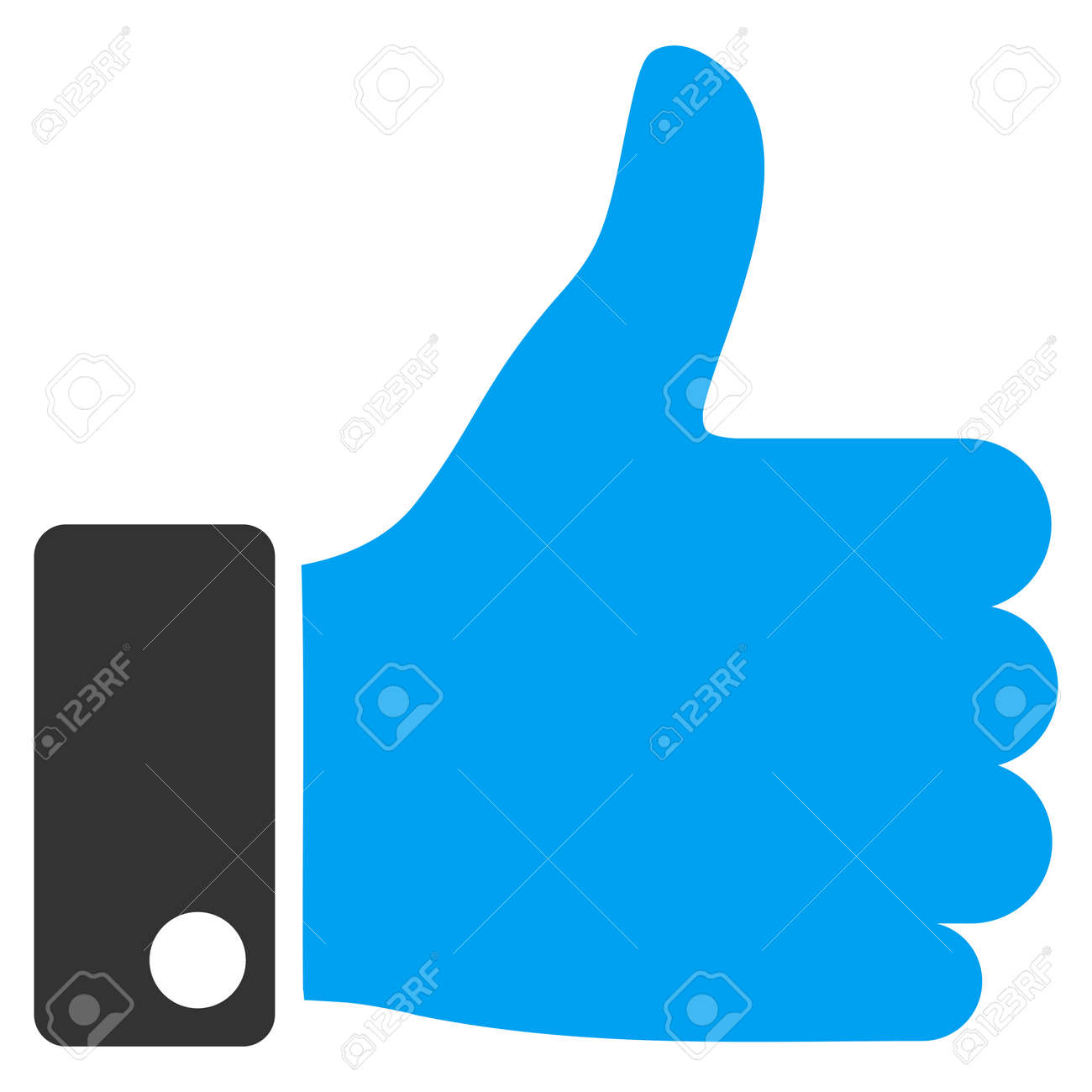 Thumb Up vector icon. Style is bicolor flat symbol, blue and gray colors, rounded angles, white background. - 45478153