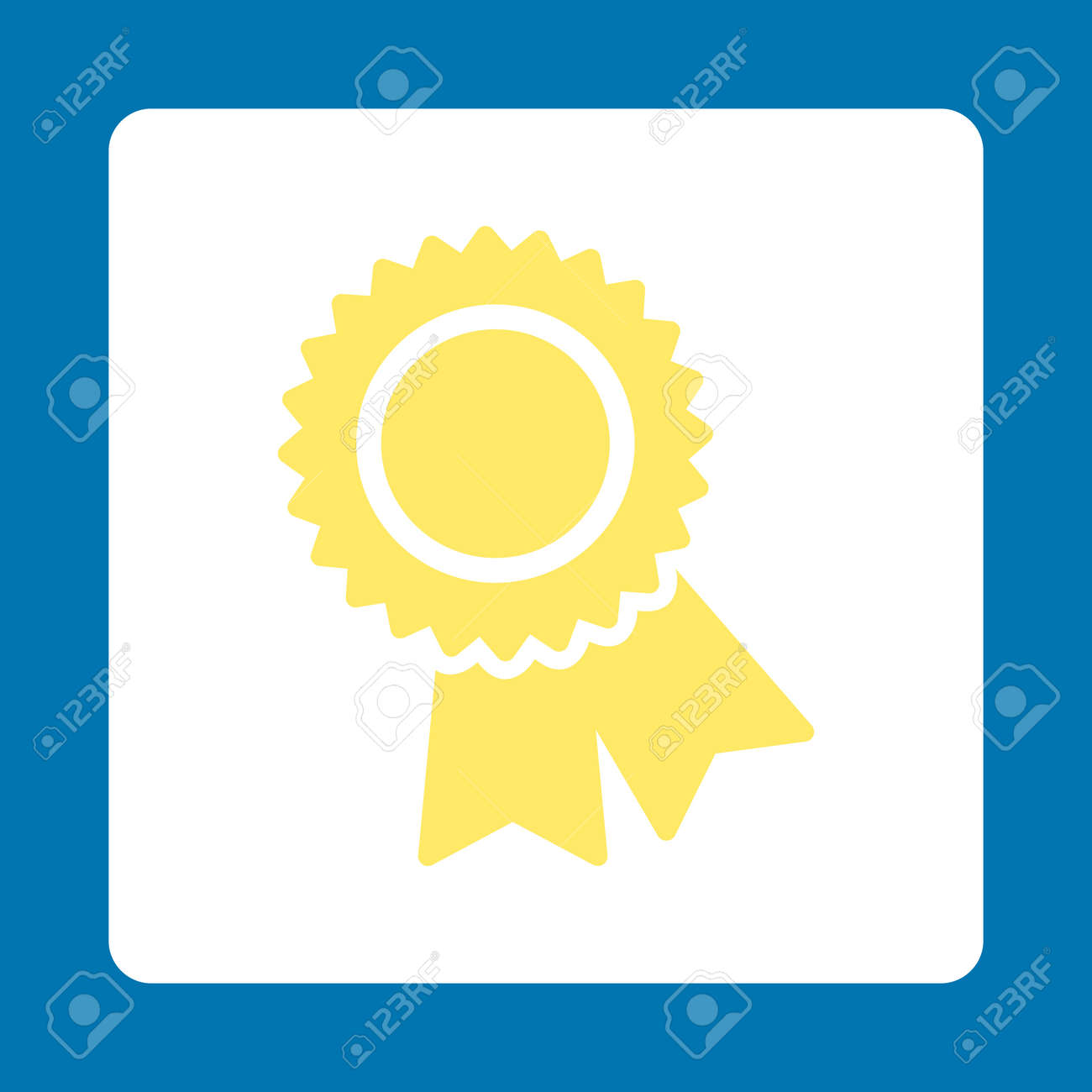 Certification Icon Icon Style Is Yellow And White Colors Flat
