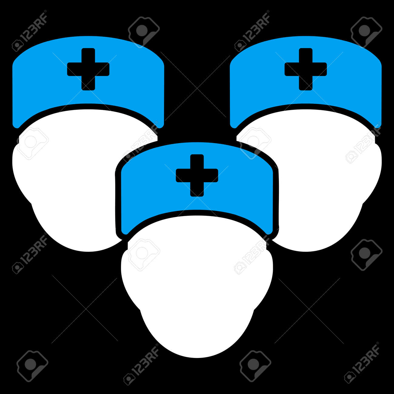 Medical Staff Raster Icon Style Is Bicolor Flat Symbol Blue