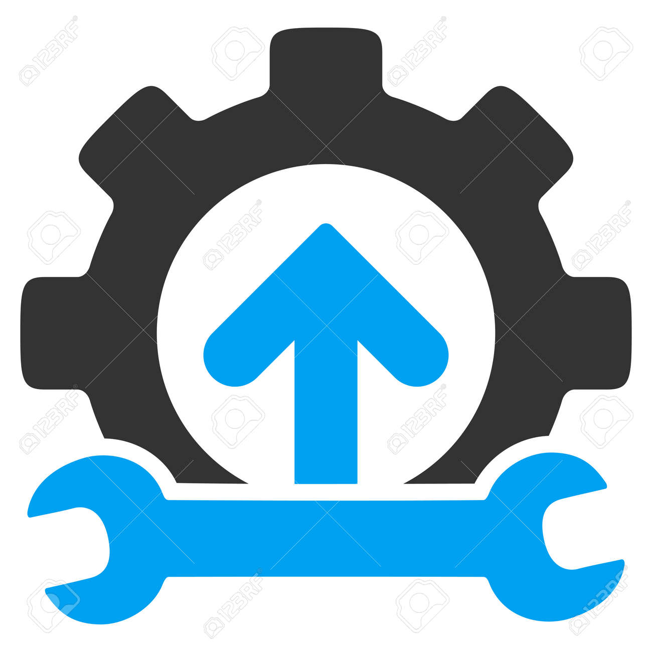 Integration Tools vector icon. Style is bicolor flat symbol, blue and gray colors, rounded angles, white background. - 45865543