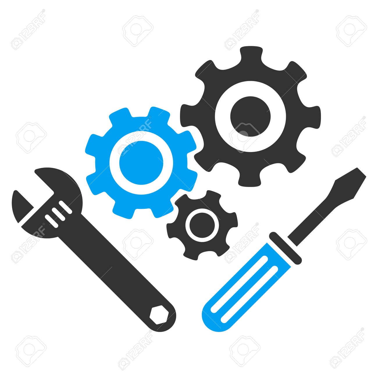 Mechanics Tools vector icon. Style is bicolor flat symbol, blue and gray colors, rounded angles, white background. - 45865551