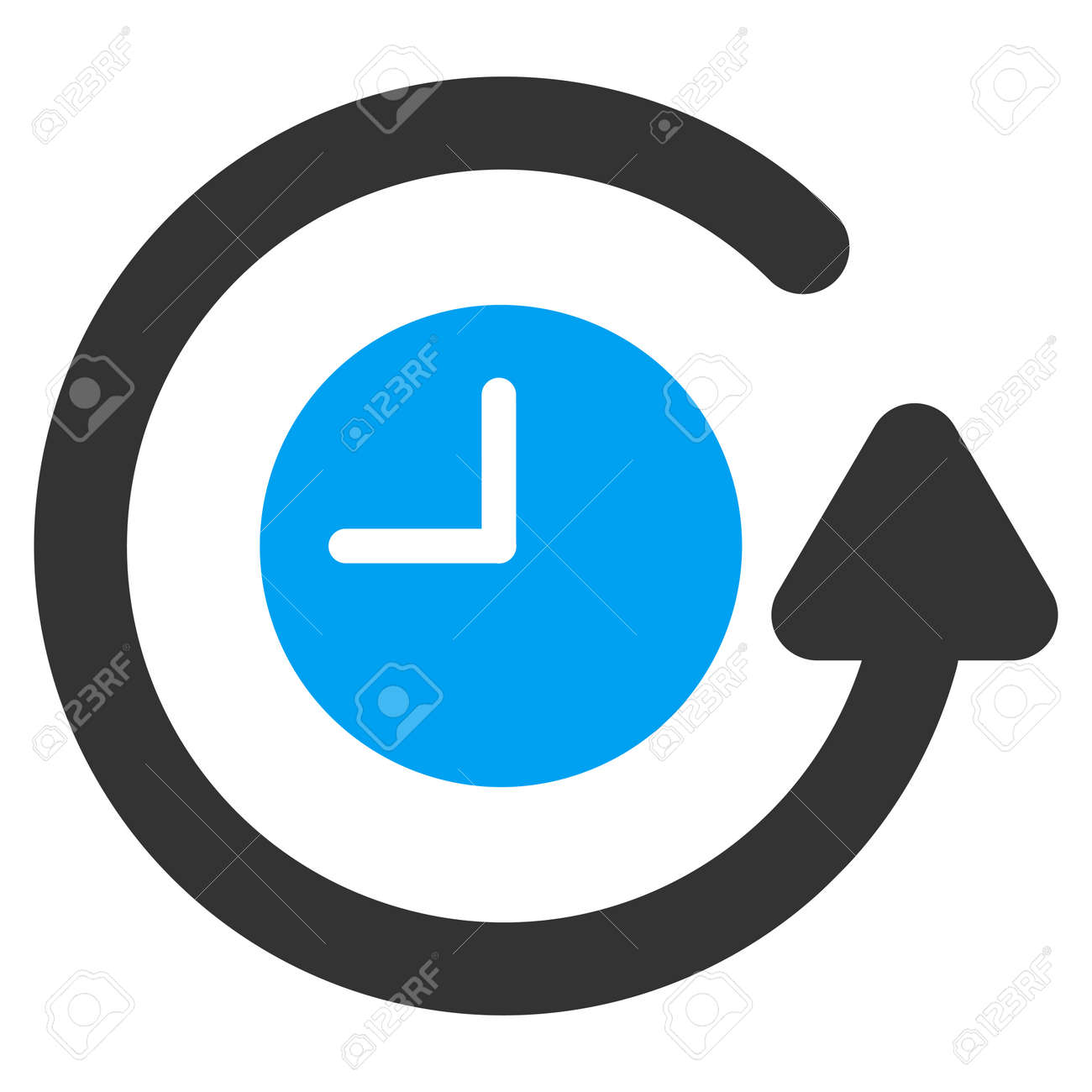 Restore Clock vector icon. Style is bicolor flat symbol, blue and gray colors, rounded angles, white background. - 45865613