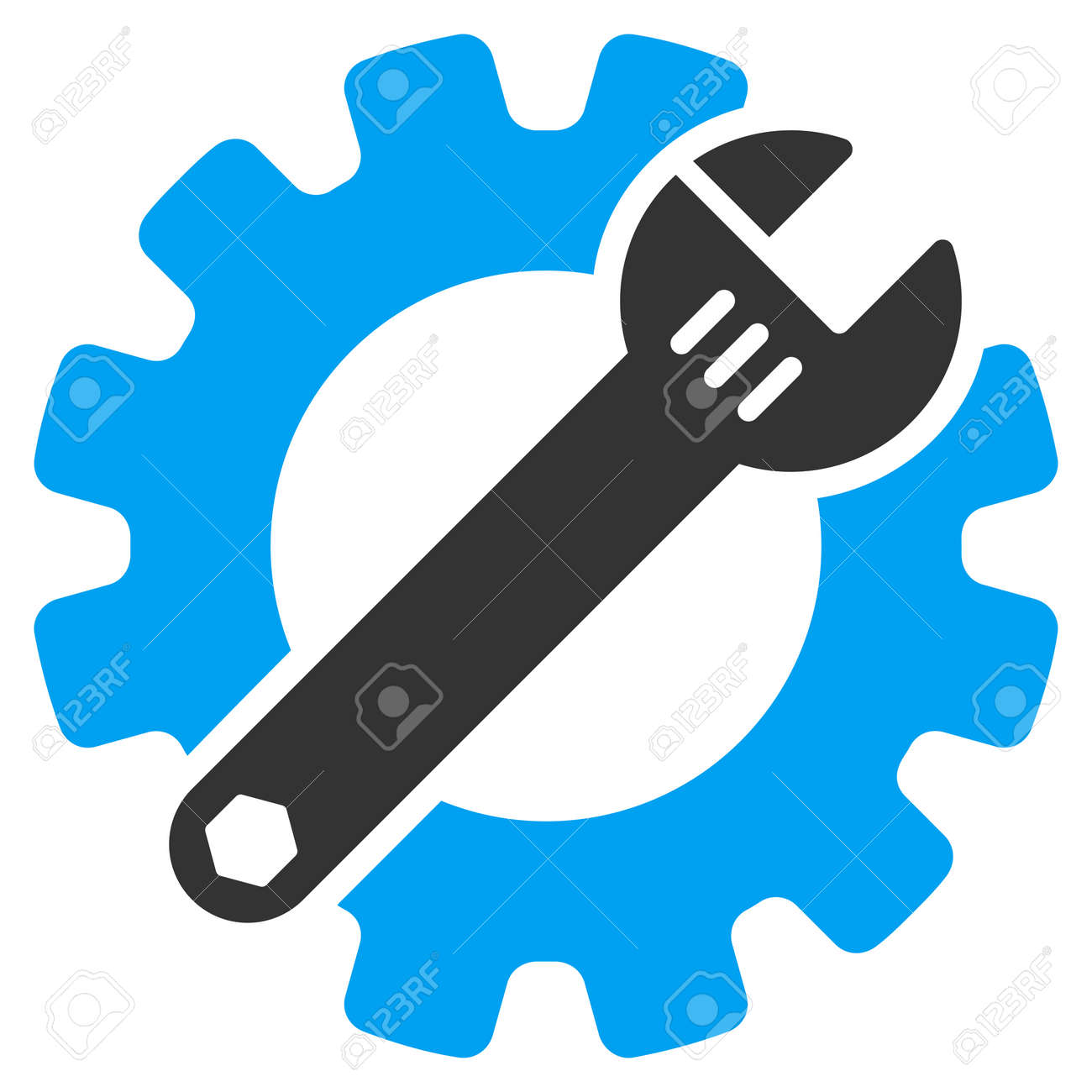 Service Tools vector icon. Style is bicolor flat symbol, blue and gray colors, rounded angles, white background. - 45865837