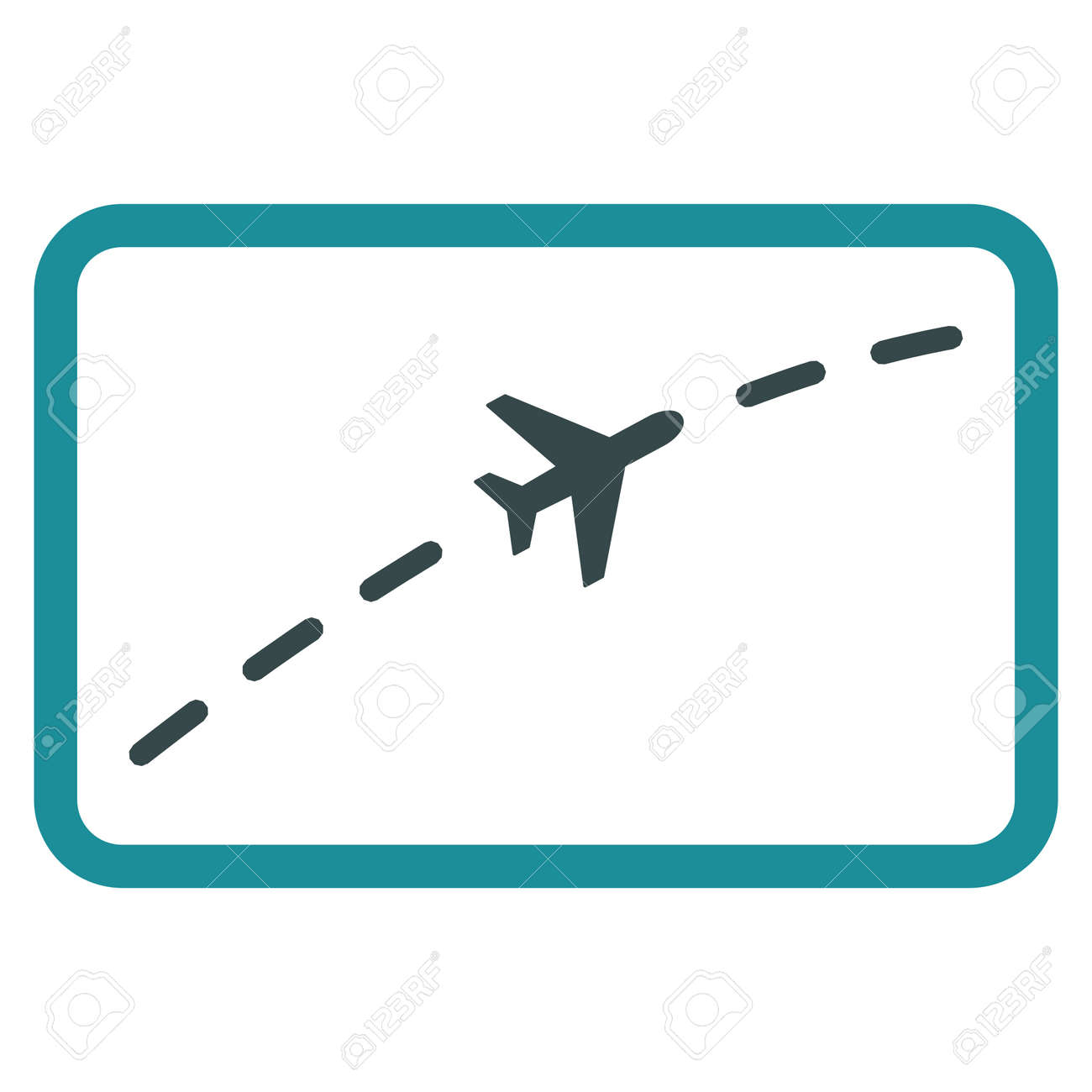 Plane Route vector icon. Style is flat bicolor soft blue symbol, rounded angles, white background. - 46821032