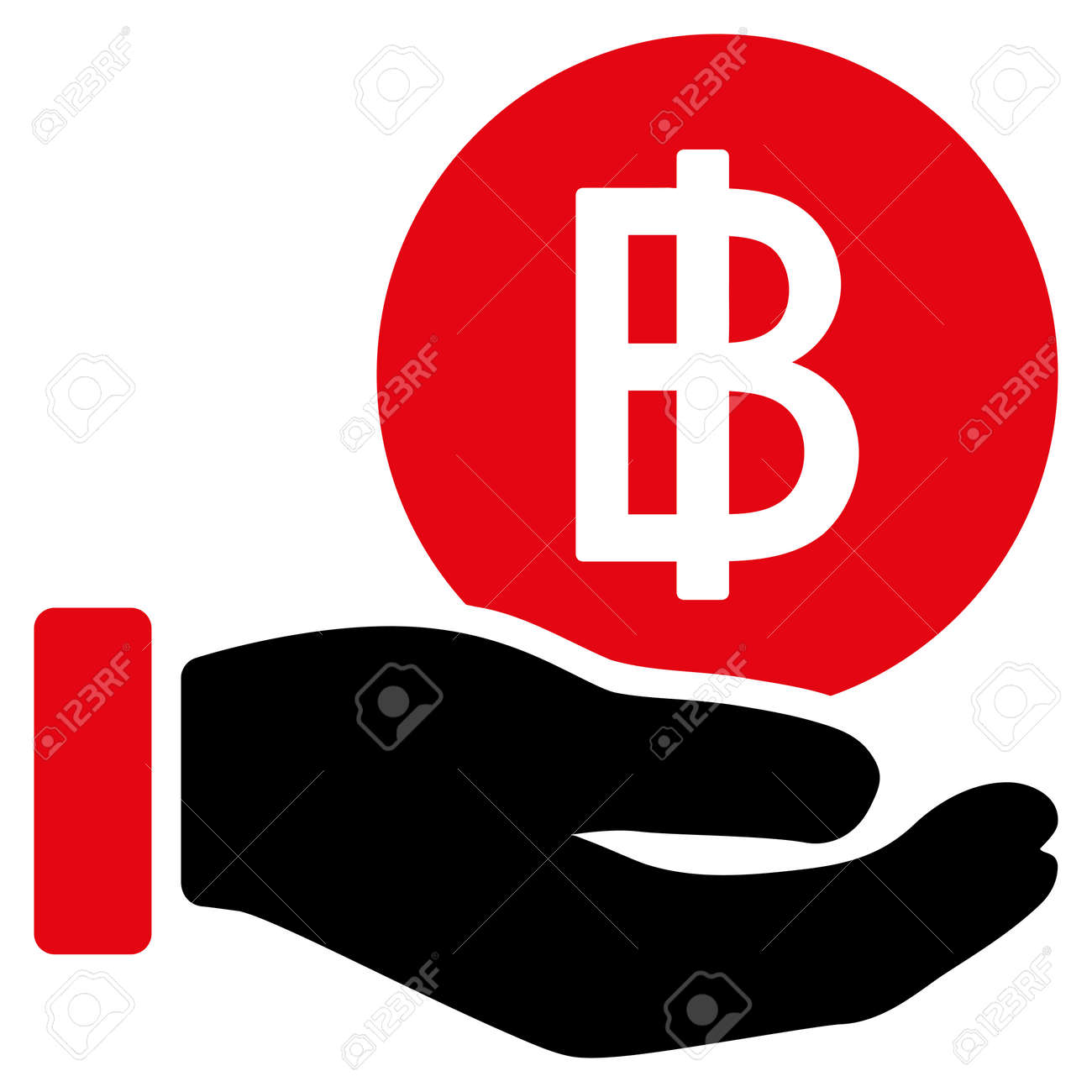 Thai Baht Coin Payment Vector Icon Style Is Flat Symbol Rounded