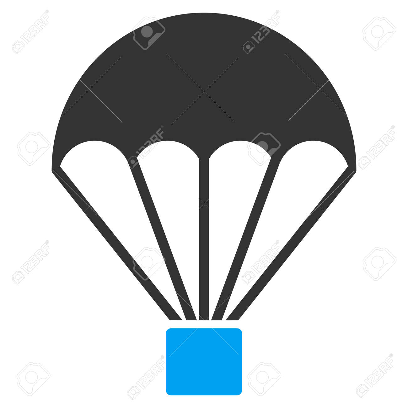 Parachute vector icon. Style is flat symbol, rounded angles, white background. - 46878675