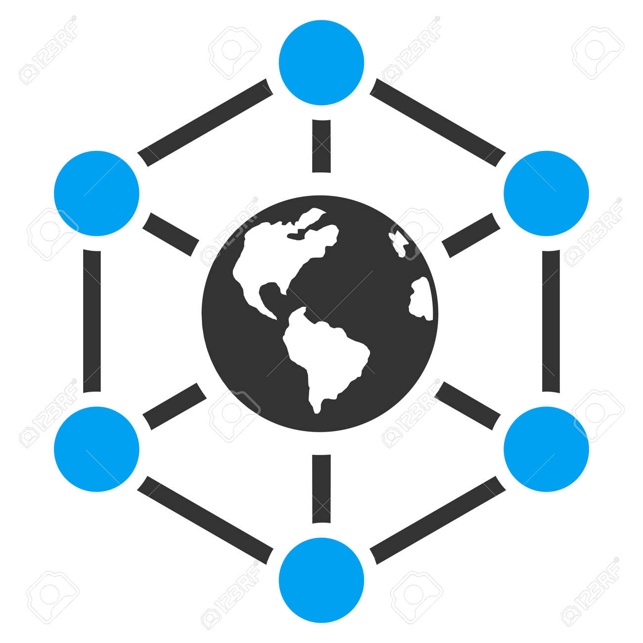 Worldwide Internet vector icon. Style is flat symbol, rounded angles, white background. - 47064894