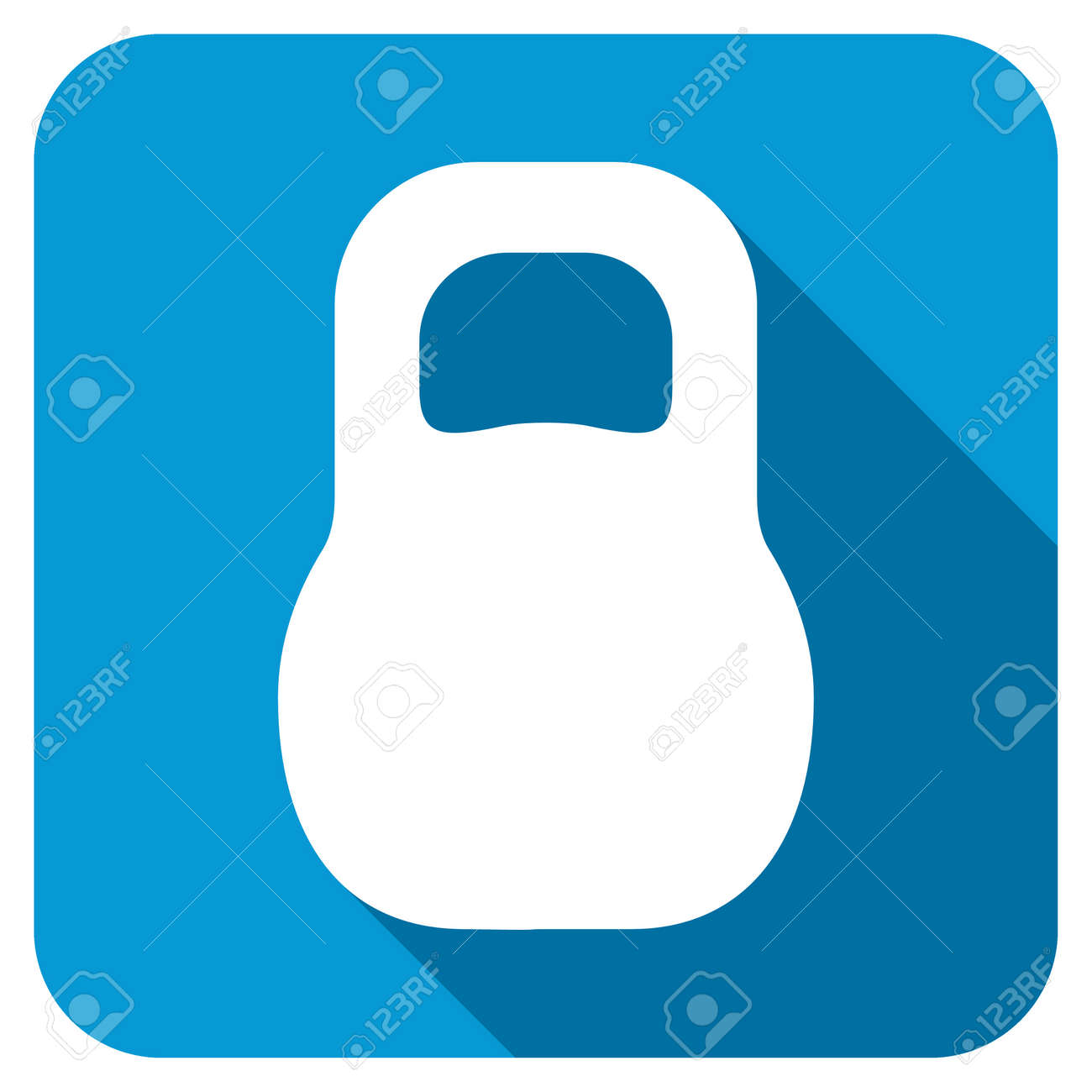 Weight Longshadow Icon. Style Is A Blue Rounded Square Button ...