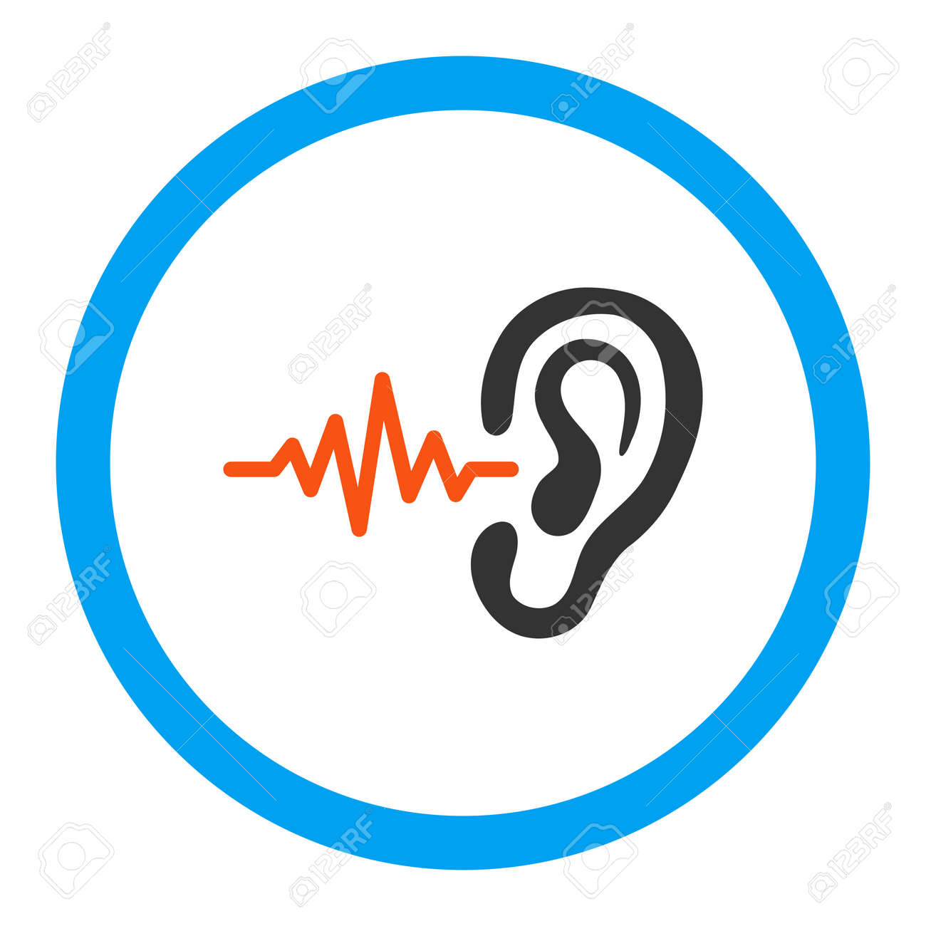 Listen vector icon. Style is flat rounded symbol, bright colors, rounded angles, white background. - 47616697