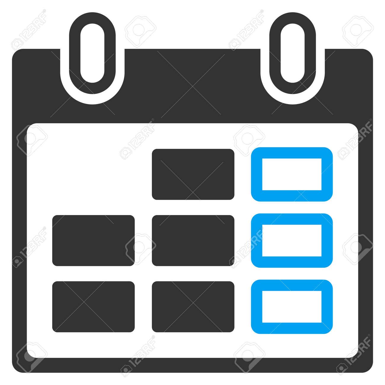 Calendario Icona.Settimana Di Calendario Vettore Icona Lo Stile E Simbolo Piatta Bicolore I Colori Blu E Grigio Angoli Arrotondati Sfondo Bianco