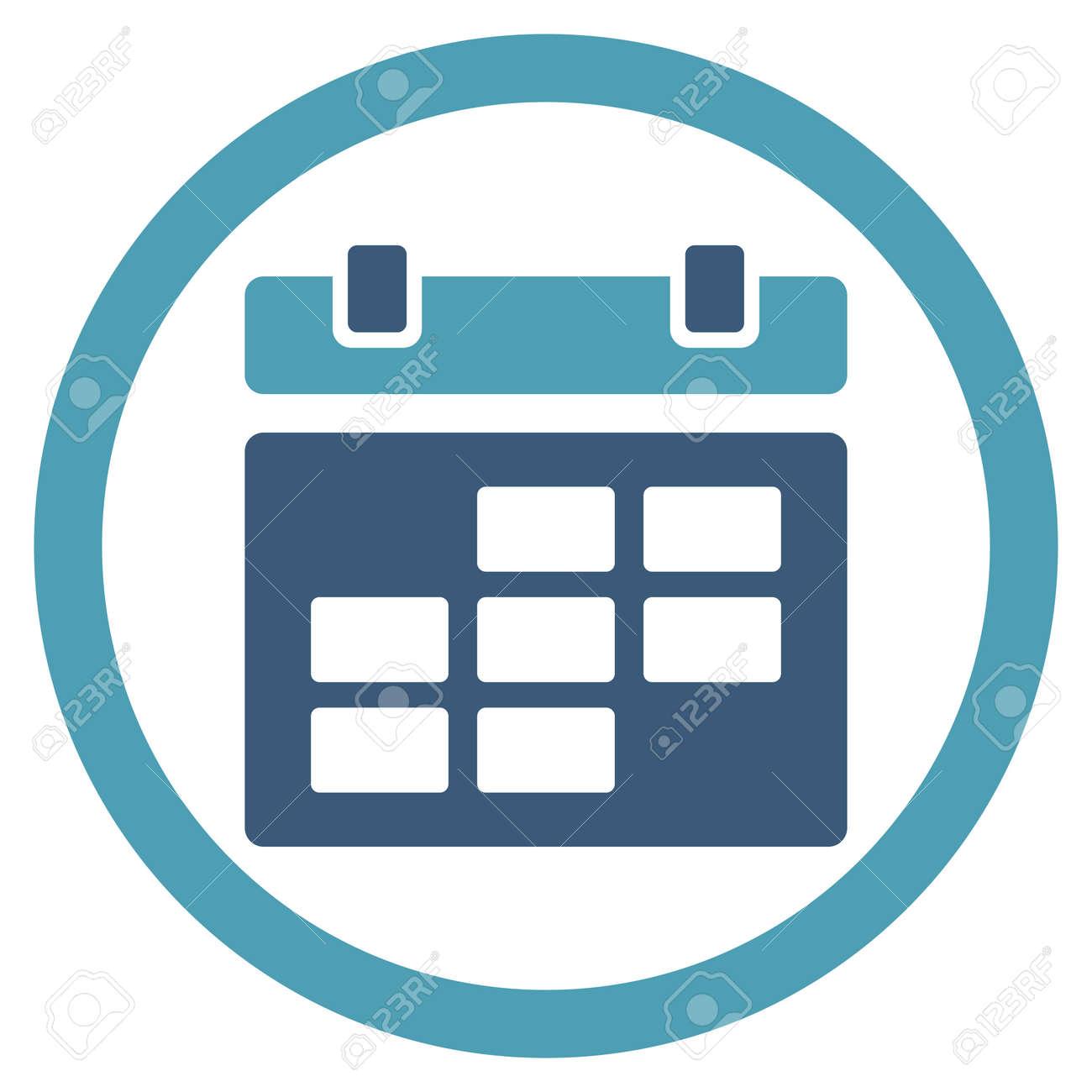 Calendario Icona.Icona Del Calendario Di Vettore Lo Stile E Bicolore Piatto Simbolo Arrotondata Ciano E Blu Angoli Sfondo Bianco Arrotondato