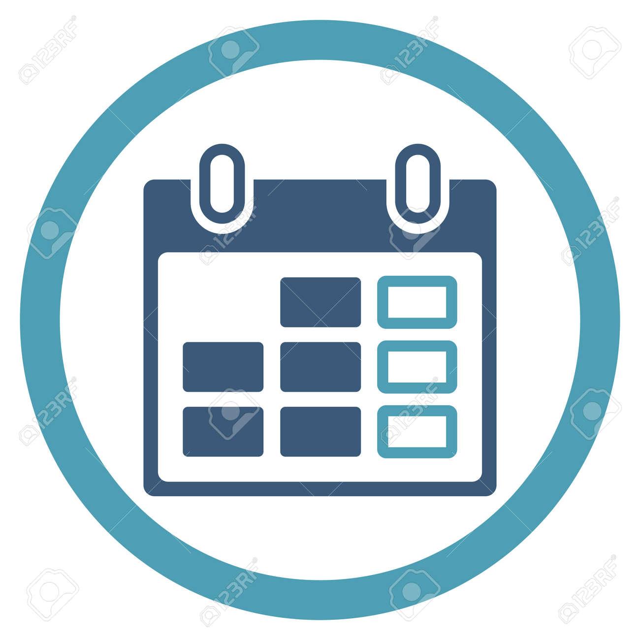 Simbolo Calendario.Settimana Di Calendario Vettore Icona Lo Stile E Bicolore Piatto Simbolo Arrotondata Ciano E Blu Angoli Sfondo Bianco Arrotondato