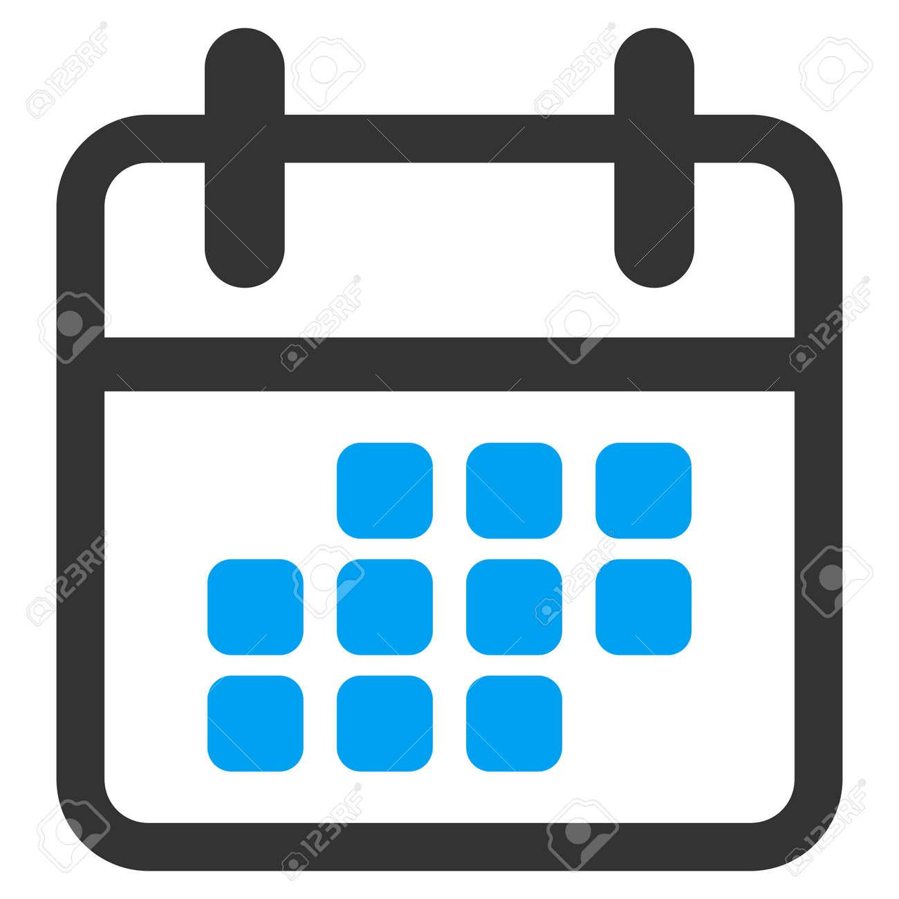 Simbolo De Calendario.Icona Del Calendario Mese Glifo Lo Stile E Simbolo Piatta Bicolore Colori Blu E Grigio Angoli Arrotondati Sfondo Bianco