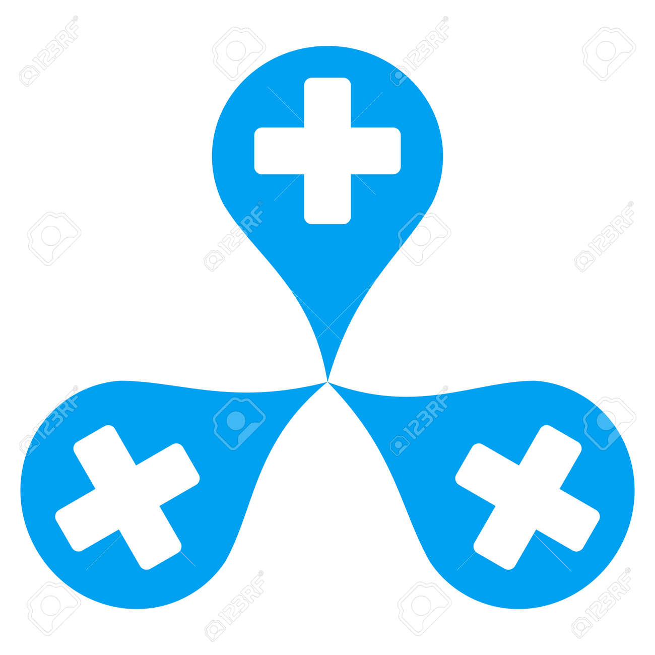 Hospital Map Markers Vector Icon Style Is Flat Symbol Blue