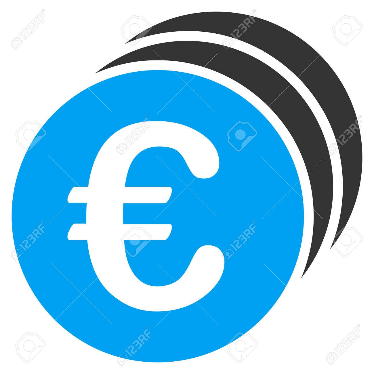 Euro Münzen Symbol Symbol Art Ist Bicolor Flaches Symbol Blaue Und