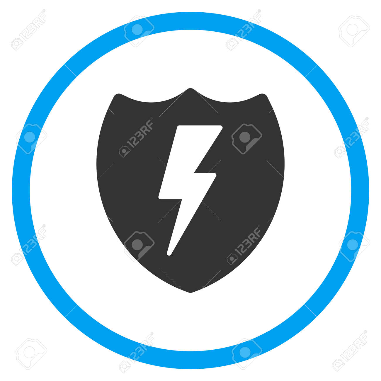 Electric Shield Glyph Icon. Style Is Bicolor Flat Circled Symbol ...