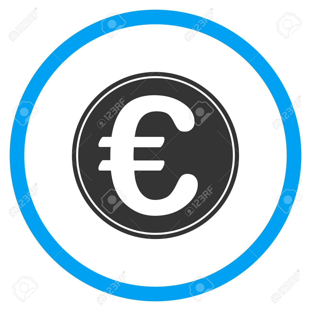 Euro Münze Glyph Symbol Der Stil Ist Bicolor Flach Eingekreiste