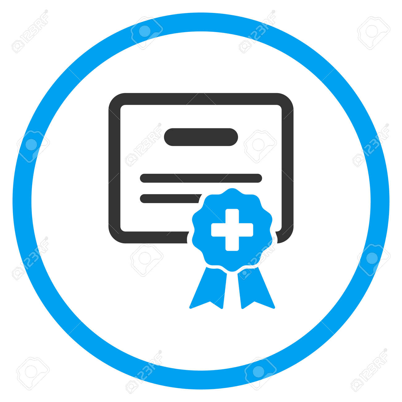 Medical Certification vector icon. Style is bicolor flat circled symbol, blue and gray colors, rounded angles, white background. - 51115946